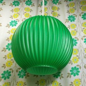 レトロポップ ガラスシェード ペンダントランプ ボール波型 グリーン