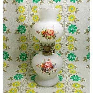 昭和レトロ 乳白擦りガラス バラ花束柄 オイルランプ