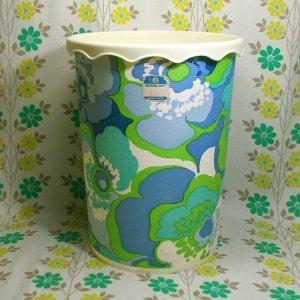 レトロポップ ブルー花柄 ゴミ箱