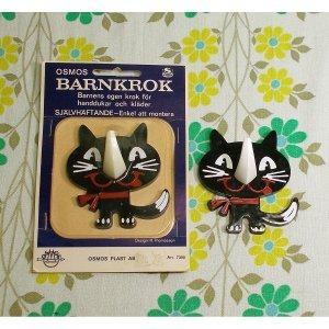 ビンテージ スウェーデン製 トーマス・フック 黒猫 2個