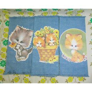 USAビンテージ 可愛い猫のランチョンマット 3枚セット