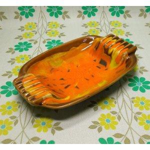 USAビンテージ 陶器製 アシュトレイ オレンジ