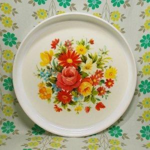 レトロプラスチック 花柄 サロントレー丸 33cm