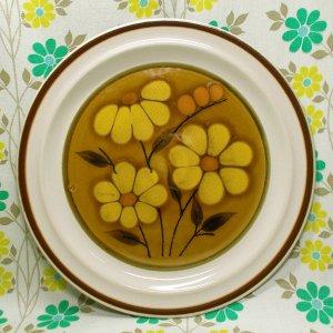 レトロポップ ストーンウェア ディナープレート イエロー花柄 Φ27cm