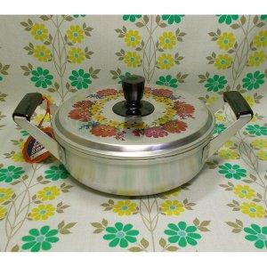 レトロポップ 花柄 アルミ製 浅型両手鍋 20cm