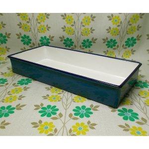 昭和レトロ ホーロー製 トレー ブルー 15×33.3cm