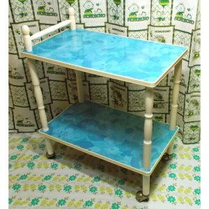 レトロポップ 木製脚 ブルー花柄 キッチンワゴン