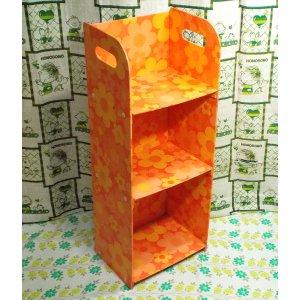 レトロポップ オレンジ花柄 2段シェルフ