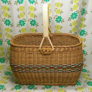 昭和レトロ 籐編み お買い物カゴ