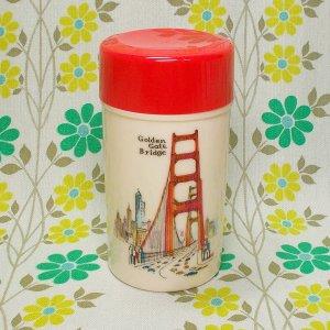 レトロプラスチック アートロングポット 茶筒 ゴールデンゲートブリッジ