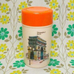 レトロプラスチック アートロングポット 茶筒 凱旋門