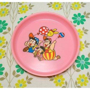 レトロプラスチック イラスト スナック皿 ピンク