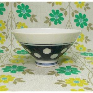 昭和レトロ 陶器製 水玉柄 茶碗