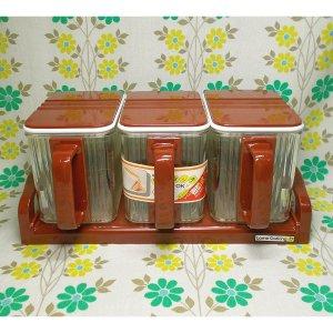 レトロプラスチック 3連 調味料ラック シールクッキングポット ブラウン