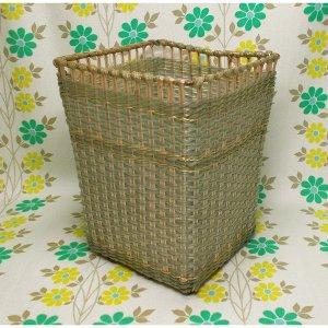 昭和レトロ カゴ編み 角ゴミ箱