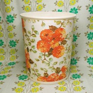 レトロポップ オレンジ花柄 ゴミ箱