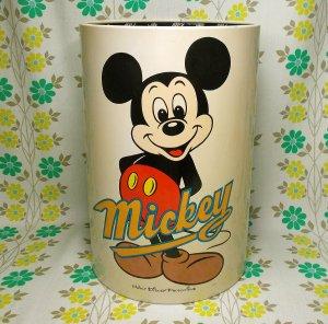 レトロポップ ミッキーマウス スチール製 ゴミ箱