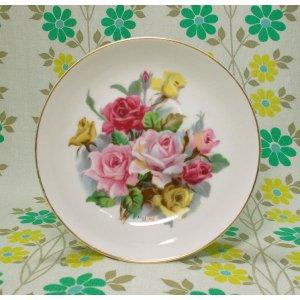 昭和レトロ 陶器製 薔薇花柄 小皿 φ15cm