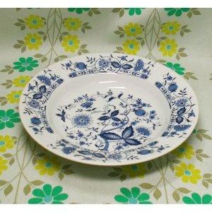 レトロ 陶器製 スープ皿 ブルーオニオン柄