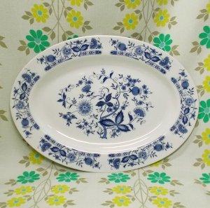 レトロ 陶器製 オーバル型 大皿 ブルーオニオン柄