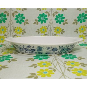 レトロ 陶器製 グラタン皿 ブルーオニオン柄