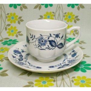 レトロ 陶器製 カップ&ソーサー ブルーオニオン柄