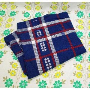 レトロポップ 座布団カバー 花柄×チェック柄 ブルー