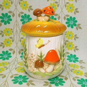 ビンテージ 陶器製 マッシュルームキャニスター