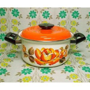 レトロポップ オレンジ薔薇花柄 ホーロー製 両手鍋 20cm