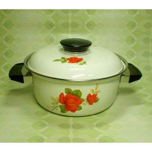 レトロポップ 薔薇花柄 ホーロー製 両手鍋 20cm