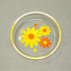 レトロポップ デイジー花柄 ガラス皿