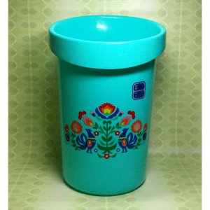 レトロプラスチック 鳥&花柄 ゴミ箱 ニューダスター(大) ブルー