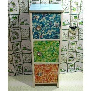 レトロポップ 花柄 扉付き 3段 カラーボックス 収納棚