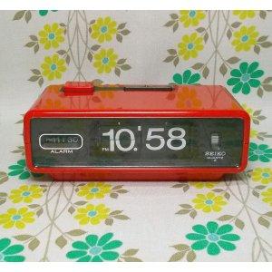 昭和レトロポップ セイコー 電池式 パタパタ時計 レッド