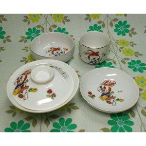 昭和レトロポップ 陶器製 ウサギ柄 子供用 食器揃い お食い初め