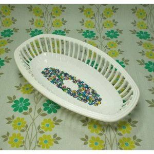 レトロプラスチック 花柄 オーバル型 ネオバスケット(中)