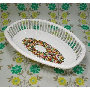 レトロプラスチック 花柄 オーバル型 ネオバスケット(大)