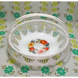 レトロプラスチック 花柄 取っ手付き バスケット φ29cm