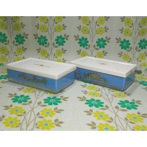 レトロプラスチック 花柄 チャームバターケース ナイフ付き ブルー