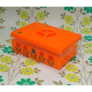レトロプラスチック チューリップ花柄 バターケース オレンジ