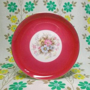 昭和レトロ 陶器製 花柄 デザート皿 ピンク