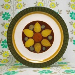 昭和レトロ ストーンウェア ケーキプレート 花柄 Φ17cm