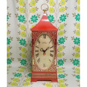 昭和レトロポップ セイコー 手巻き式 目覚まし時計 バードソング レッド