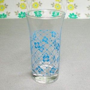 レトロポップ 水色花×格子柄 タンブラーグラス