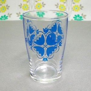 レトロポップ ブルー幾何学花柄 タンブラーグラス