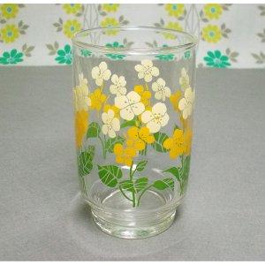 レトロポップ イエロー花柄 タンブラーグラス