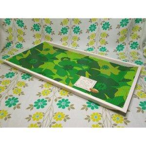 レトロプラスチック 舟型角トレー 花柄 グリーン