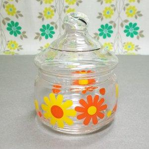 レトロポップ デイジー花柄 ガラスポット