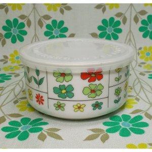 レトロポップ 陶器製 花柄 蓋付き保存容器