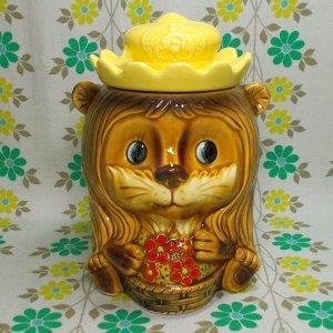 昭和レトロポップ クッキージャー 花籠を持ったライオン